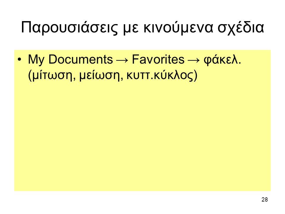 28 Παρουσιάσεις με κινούμενα σχέδια My Documents → Favorites → φάκελ. (μίτωση, μείωση, κυττ.κύκλος)