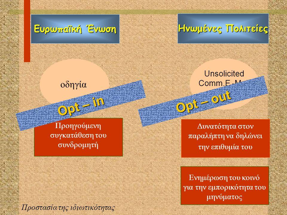 Σύστημα opt-in Σύστημα opt-out Εναντίωση καταναλωτή Συμφωνία καταναλωτή Προστασία της ιδιωτικότητας