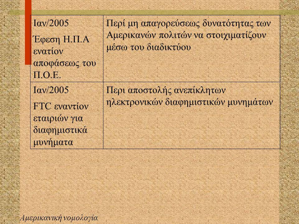 Ελληνική νομολογία Αρ.απ.687/03 μονομελούς πρωτοδικείου Τρικάλων Περί είσπραξης δικαιωμάτων πνευματικών δημιουργών από οργανισμό συλλογικής διαχείρισης Αρ.απ.1318/01 μονομελούς πρωτοδικείου Αθηνών Χρήση ξένης επωνυμίας στο διαδίκτυο (INTERNET) με τη δημιουργία ηλεκτρονικής διεύθυνσης