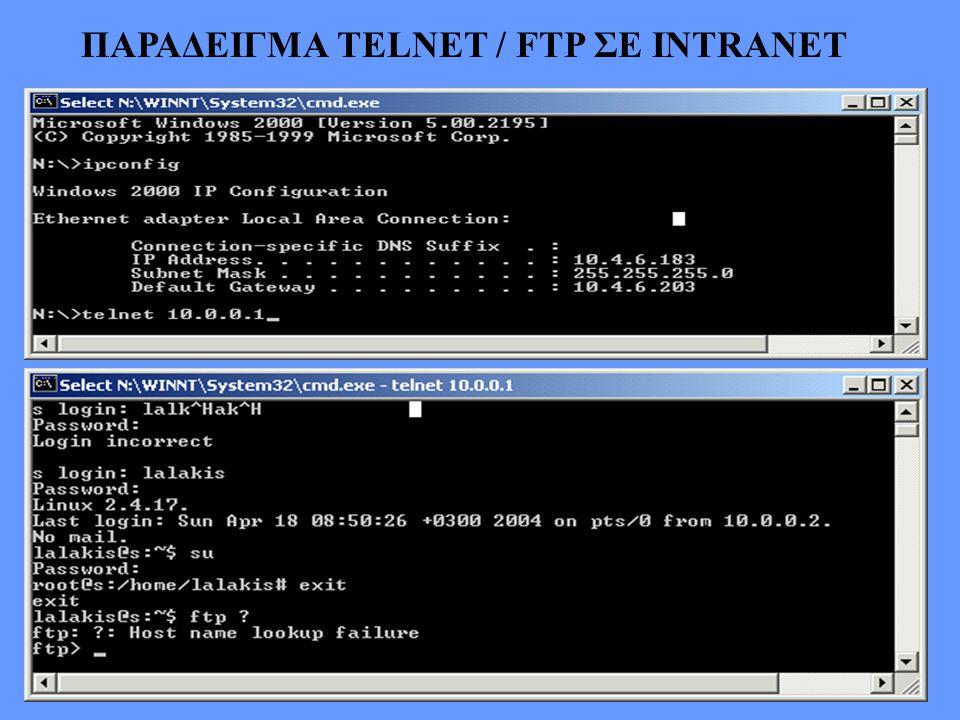ΠΑΡΑΔΕΙΓΜΑ ΤΕLNET / FTP ΣΕ ΙΝTRANET