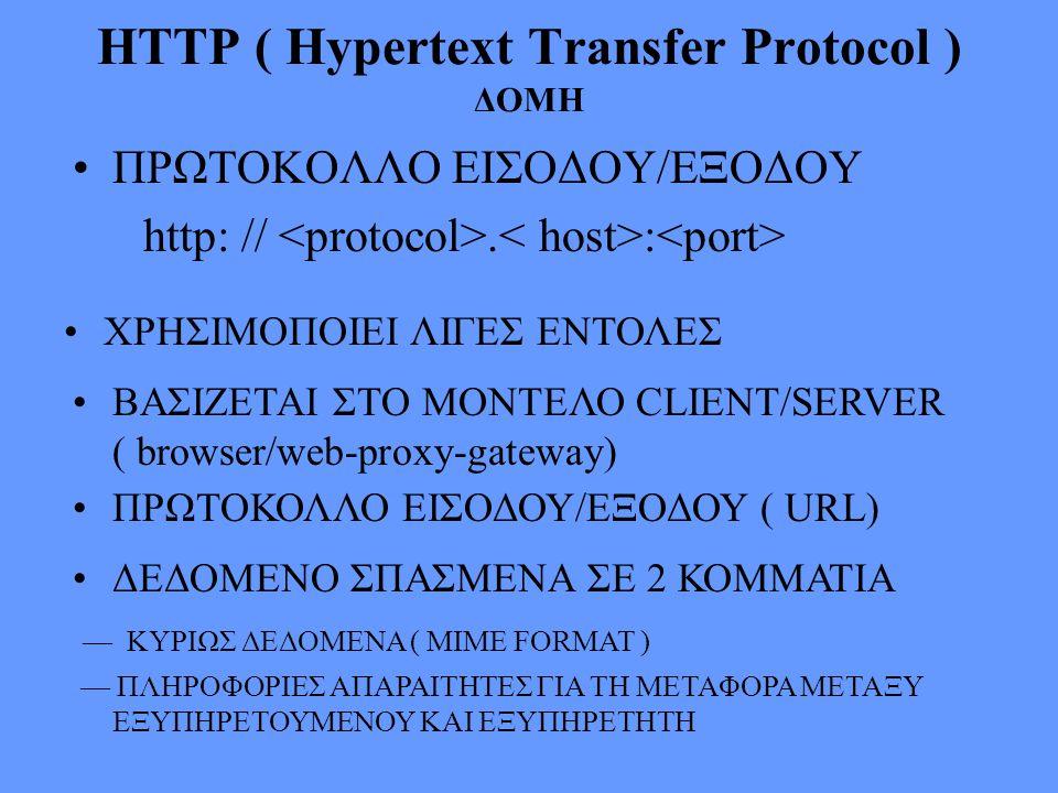 HTTP ( Hypertext Transfer Protocol ) ΔΟΜΗ ΠΡΩΤΟΚΟΛΛΟ ΕΙΣΟΔΟΥ/ΕΞΟΔΟΥ http: //. : ΧΡΗΣΙΜΟΠΟΙΕΙ ΛΙΓΕΣ ΕΝΤΟΛΕΣ ΒΑΣΙΖΕΤΑΙ ΣΤΟ ΜΟΝΤΕΛΟ CLIENT/SERVER ( brows