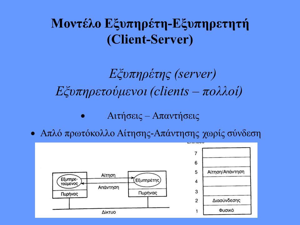 Μοντέλο Εξυπηρέτη-Εξυπηρετητή (Client-Server) Εξυπηρέτης (server) Εξυπηρετούμενοι (clients – πολλοί)  Αιτήσεις – Απαντήσεις  Απλό πρωτόκολλο Α