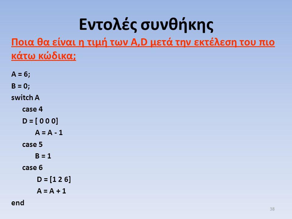Ποια θα είναι η τιμή των Α,D μετά την εκτέλεση του πιο κάτω κώδικα; A = 6; B = 0; switch A case 4 D = [ 0 0 0] A = A - 1 case 5 B = 1 case 6 D = [1 2