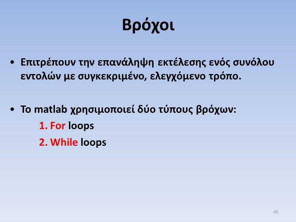 Επιτρέπουν την επανάληψη εκτέλεσης ενός συνόλου εντολών με συγκεκριμένο, ελεγχόμενο τρόπο. Το matlab χρησιμοποιεί δύο τύπους βρόχων: 1.For loops 2.Whi