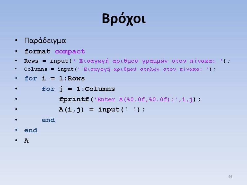 Βρόχοι Παράδειγμα format compact Rows = input(' Εισαγωγή αριθμού γραμμών στον πίνακα: '); Columns = input(' Εισαγωγή αριθμού στηλών στον πίνακα: '); f