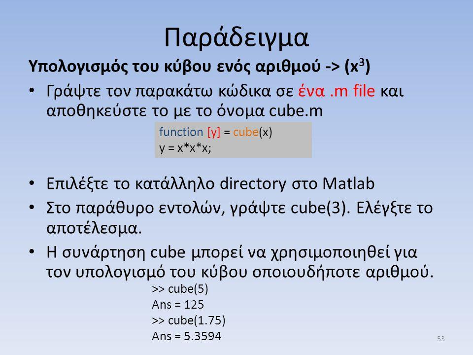 Παράδειγμα Υπολογισμός του κύβου ενός αριθμού -> (x 3 ) Γράψτε τον παρακάτω κώδικα σε ένα.m file και αποθηκεύστε το με το όνομα cube.m Επιλέξτε το κατ
