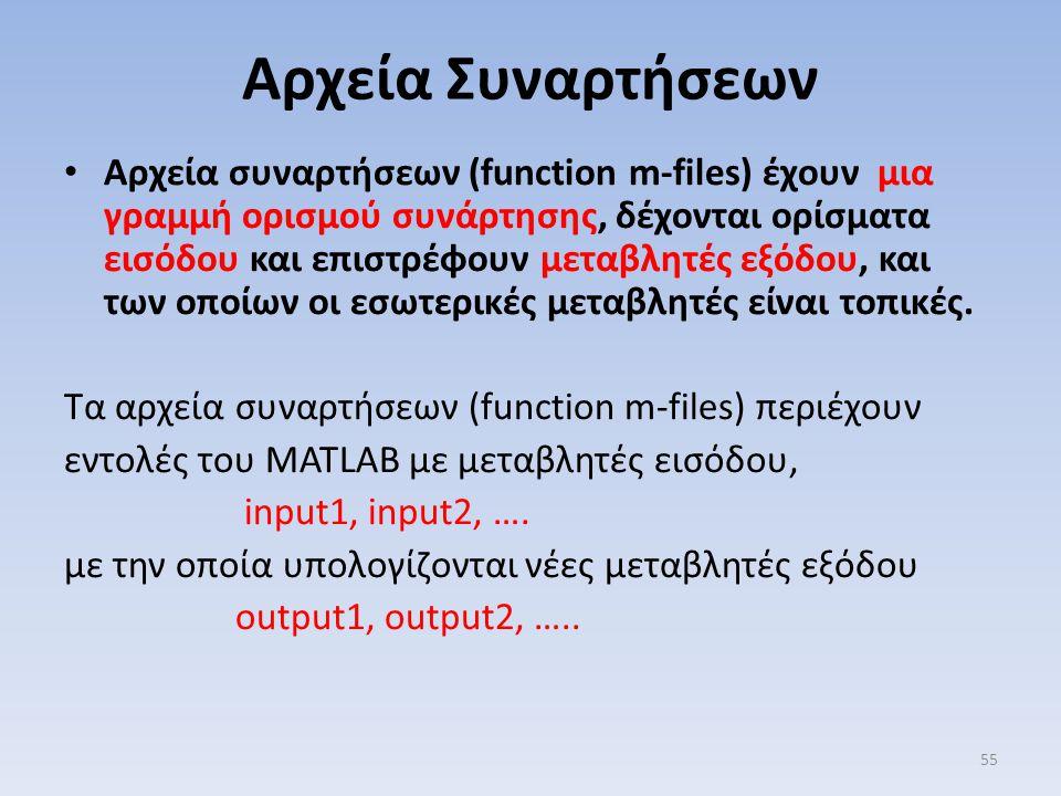 Αρχεία Συναρτήσεων Αρχεία συναρτήσεων (function m-files) έχουν μια γραμμή ορισμού συνάρτησης, δέχονται ορίσματα εισόδου και επιστρέφουν μεταβλητές εξό
