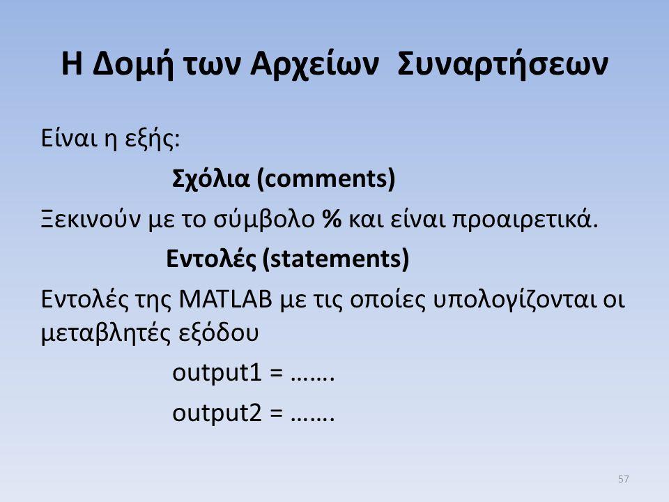 Η Δομή των Αρχείων Συναρτήσεων Είναι η εξής: Σχόλια (comments) Ξεκινούν με το σύμβολο % και είναι προαιρετικά. Εντολές (statements) Εντολές της MATLAB