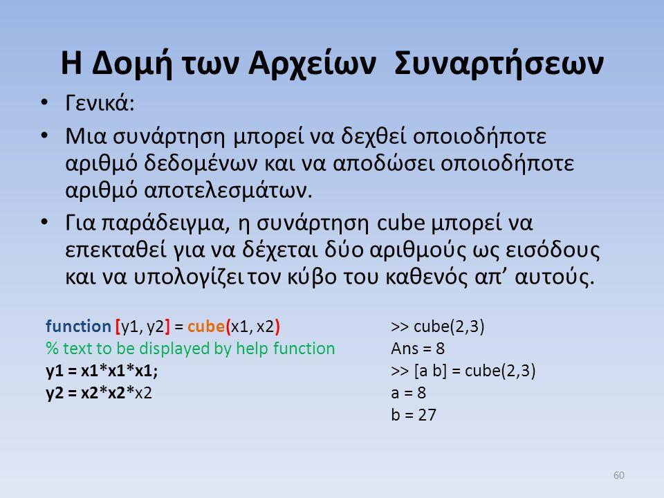 Γενικά: Μια συνάρτηση μπορεί να δεχθεί οποιοδήποτε αριθμό δεδομένων και να αποδώσει οποιοδήποτε αριθμό αποτελεσμάτων. Για παράδειγμα, η συνάρτηση cube