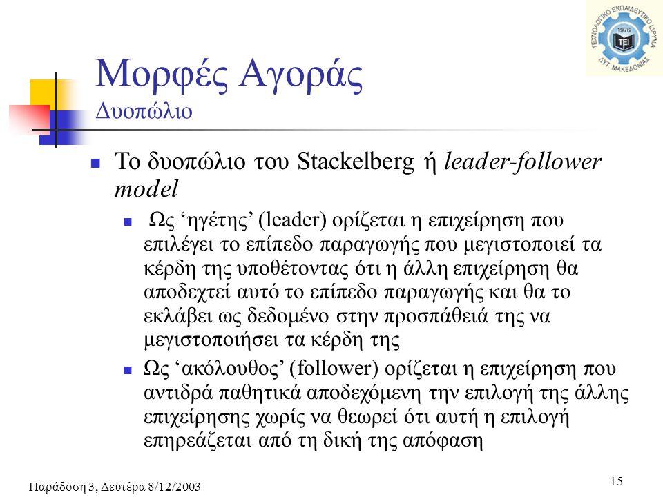 Παράδοση 3, Δευτέρα 8/12/2003 15 Μορφές Αγοράς Δυοπώλιο Το δυοπώλιο του Stackelberg ή leader-follower model Ως 'ηγέτης' (leader) ορίζεται η επιχείρηση