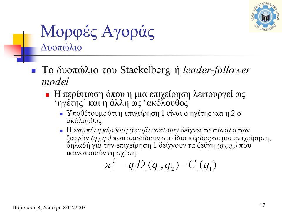 Παράδοση 3, Δευτέρα 8/12/2003 17 Το δυοπώλιο του Stackelberg ή leader-follower model Η περίπτωση όπου η μια επιχείρηση λειτουργεί ως 'ηγέτης' και η άλλη ως 'ακόλουθος' Υποθέτουμε ότι η επιχείρηση 1 είναι ο ηγέτης και η 2 ο ακόλουθος Η καμπύλη κέρδους (profit contour) δείχνει το σύνολο των ζευγών (q 1,q 2 ) που αποδίδουν στο ίδιο κέρδος σε μια επιχείρηση, δηλαδή για την επιχείρηση 1 δείχνουν τα ζεύγη (q 1,q 2 ) που ικανοποιούν τη σχέση: Μορφές Αγοράς Δυοπώλιο