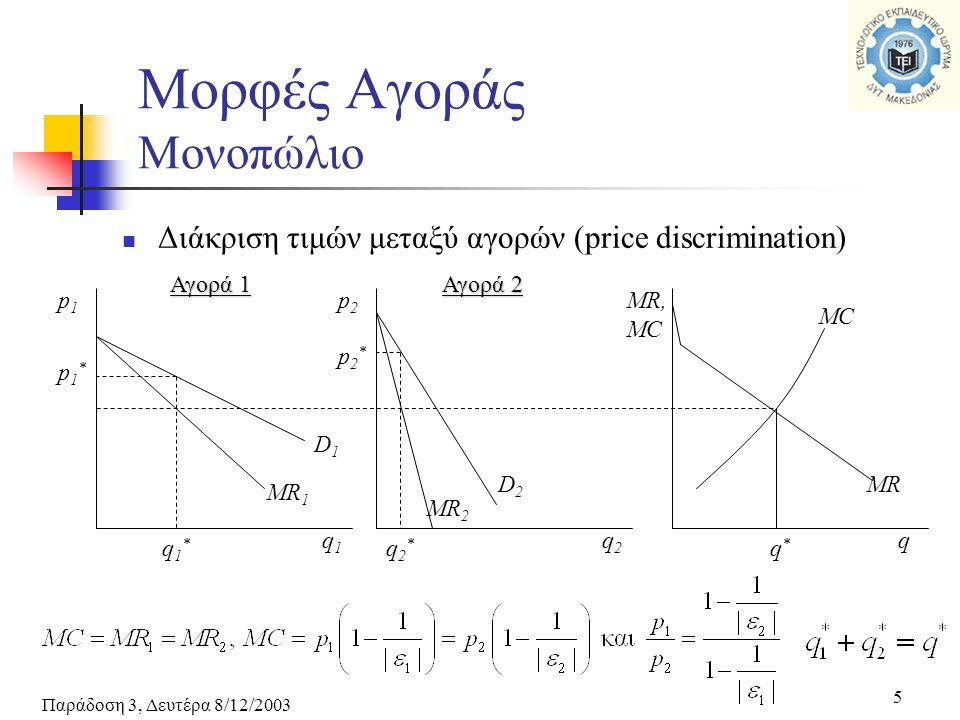 Παράδοση 3, Δευτέρα 8/12/2003 5 Μορφές Αγοράς Μονοπώλιο Διάκριση τιμών μεταξύ αγορών (price discrimination) p1p1 q1q1 p2p2 q2q2 MR, MC q Αγορά 1 Αγορά
