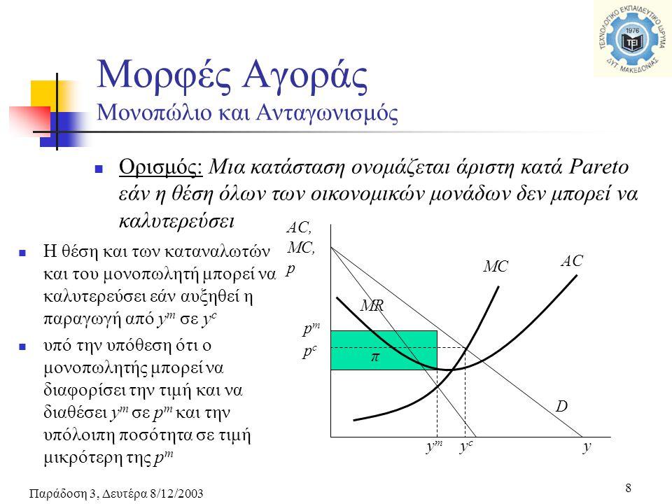 Παράδοση 3, Δευτέρα 8/12/2003 8 Ορισμός: Μια κατάσταση ονομάζεται άριστη κατά Pareto εάν η θέση όλων των οικονομικών μονάδων δεν μπορεί να καλυτερεύσει Μορφές Αγοράς Μονοπώλιο και Ανταγωνισμός MR D MC AC pmpm ymym π y AC, MC, p pcpc ycyc Η θέση και των καταναλωτών και του μονοπωλητή μπορεί να καλυτερεύσει εάν αυξηθεί η παραγωγή από y m σε y c υπό την υπόθεση ότι ο μονοπωλητής μπορεί να διαφορίσει την τιμή και να διαθέσει y m σε p m και την υπόλοιπη ποσότητα σε τιμή μικρότερη της p m
