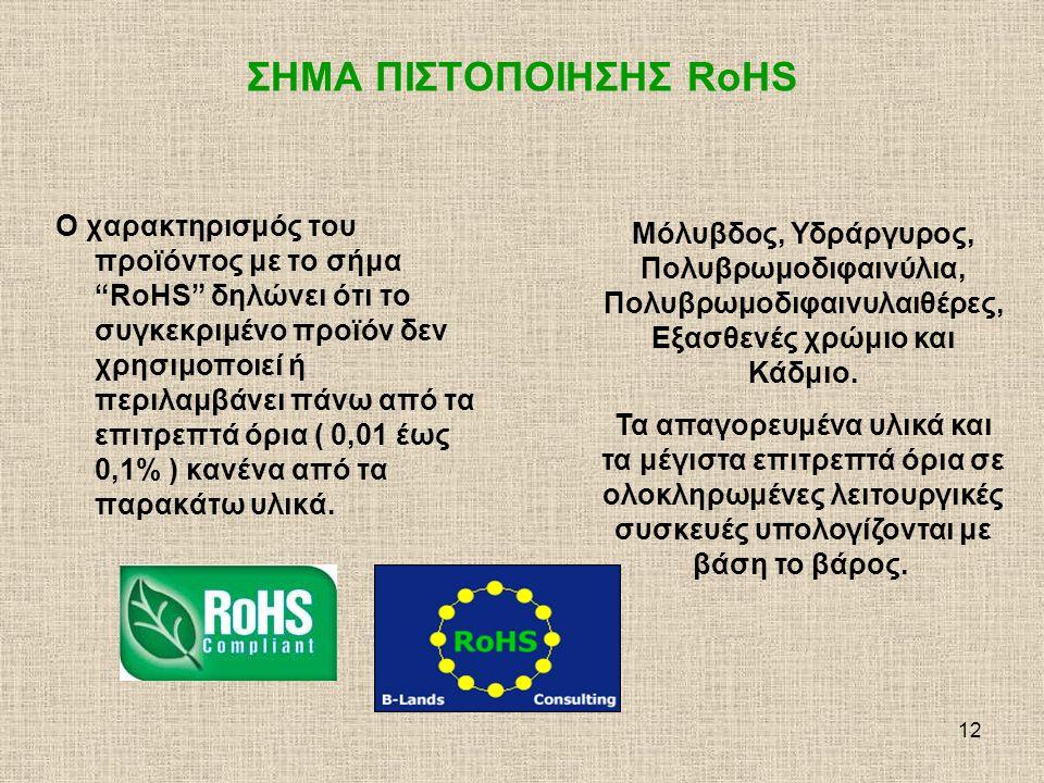 13 ΣΗΜΑ ΠΙΣΤΟΠΟΙΗΣΗΣ RoHS Η οδηγία RoHS της Ευρωπαϊκής ένωσης περιορίζει την χρήση 6 επικίνδυνων υλικών για την κατασκευή ή χρησιμοποίηση αυτών σε ηλεκτρικές και ηλεκτρονικές συσκευές.