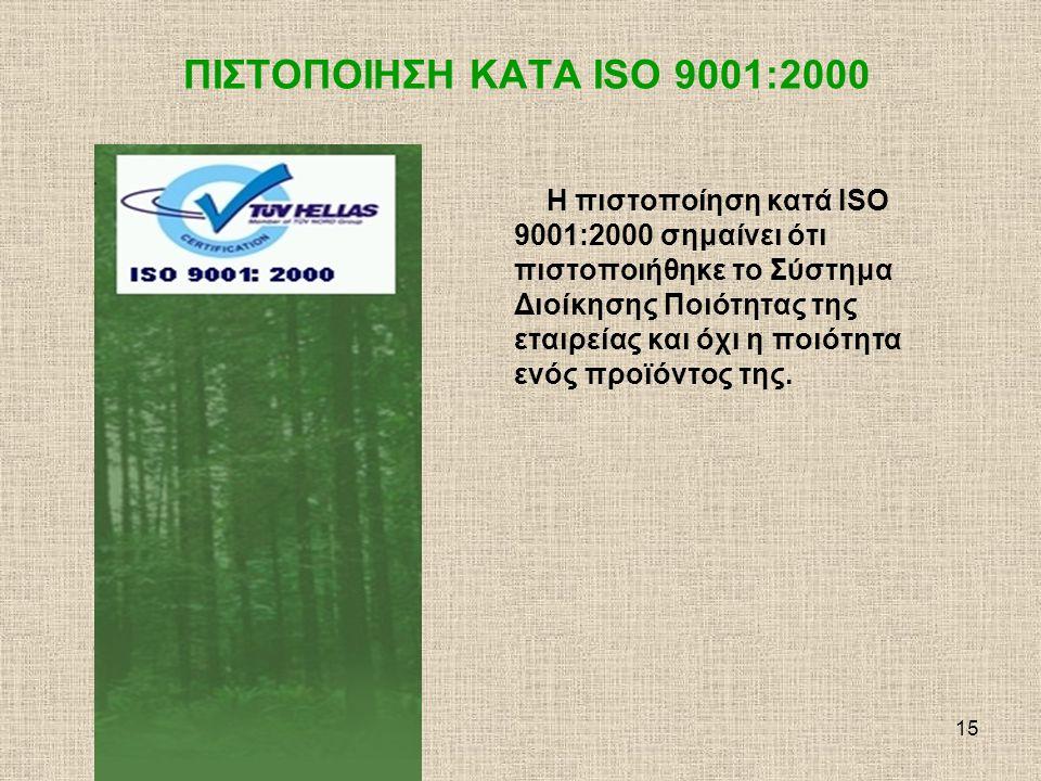 16 ΠΙΣΤΟΠΟΙΗΣΗ ΚΑΤA ISO 9001:2000 Άρα η σήμανση ISO 9001:2000 μπορεί να συνοδεύει ένα profile της εταιρείας, η να μπαίνει στις business cards του προσωπικού, αλλά δεν θα πρέπει να συνοδεύει την ονομασία ενός προϊόντος ούτε να μπαίνει στην συσκευασία προϊόντων με τρόπο που να δίνει την εντύπωση ότι αφορά το συγκεκριμένο προϊόν.