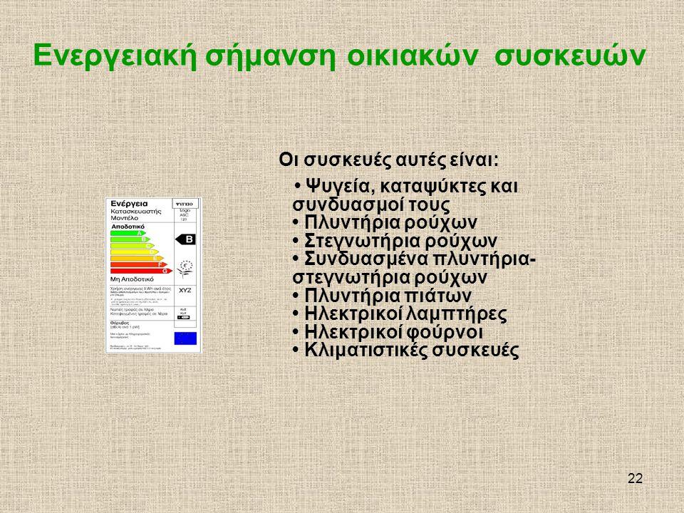 23 Ενεργειακή σήμανση οικιακών συσκευών Στόχος της ενεργειακής σήμανσης είναι να δοθεί στους καταναλωτές η δυνατότητα να λαμβάνουν υπόψη και την παράμετρο ενέργεια στην τελική επιλογή της ηλεκτρικής συσκευής, παρέχοντάς τους πληροφορίες σχετικά με την κατανάλωση ενέργειας της συγκεκριμένης ηλεκτρικής συσκευής.