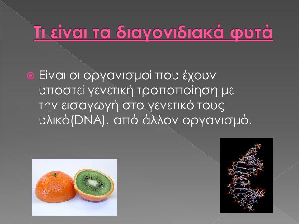  Είναι οι οργανισμοί που έχουν υποστεί γενετική τροποποίηση με την εισαγωγή στο γενετικό τους υλικό(DNA), από άλλον οργανισμό.