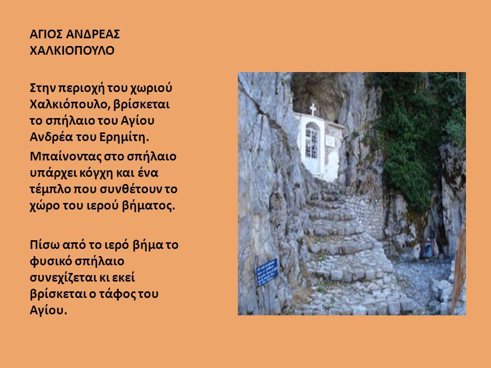 ΑΓΙΟΣ ΑΝΔΡΕΑΣ ΧΑΛΚΙΟΠΟΥΛΟ Στην περιοχή του χωριού Χαλκιόπουλο, βρίσκεται το σπήλαιο του Αγίου Ανδρέα του Ερημίτη.