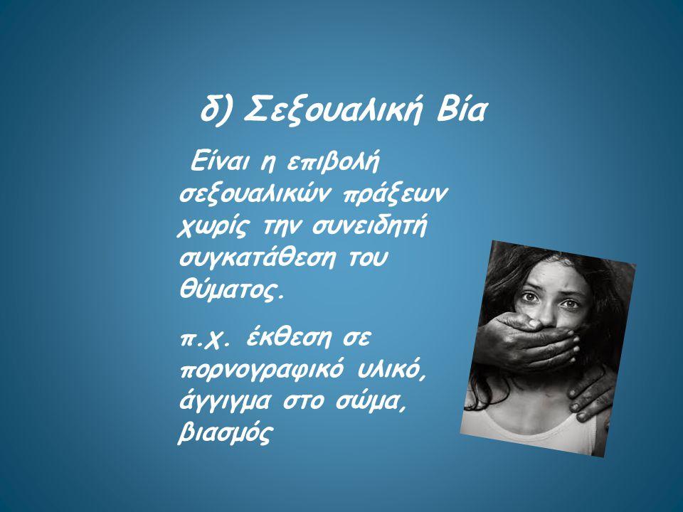 Γ) λεκτική Περιλαμβάνει φωνές, υβριστικές εξευτελιστικές εκφράσεις, ακόμη και απειλές και συνήθως είναι μέρος της ψυχολογικής βίας.