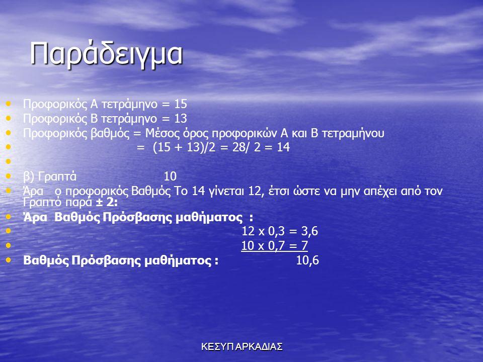 ΚΕΣΥΠ ΑΡΚΑΔΙΑΣ Παράδειγμα Προφορικός Α τετράμηνο = 15 Προφορικός Β τετράμηνο = 13 Προφορικός βαθμός = Μέσος όρος προφορικών Α και Β τετραμήνου = (15 +