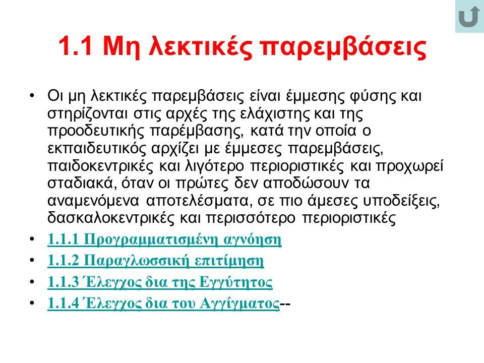 1.2.6 Προβολή των θετικών επιπτώσεων μιας αποδεκτής συμπεριφοράς Προβολή των θετικών επιπτώσεων.