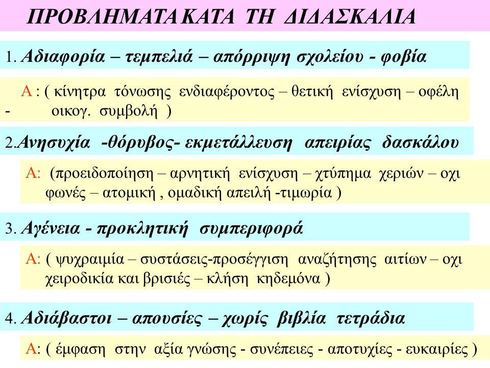 ΠΡΟΒΛΗΜΑΤΑ ΚΑΤΑ ΤΗ ΔΙΔΑΣΚΑΛΙΑ 1.