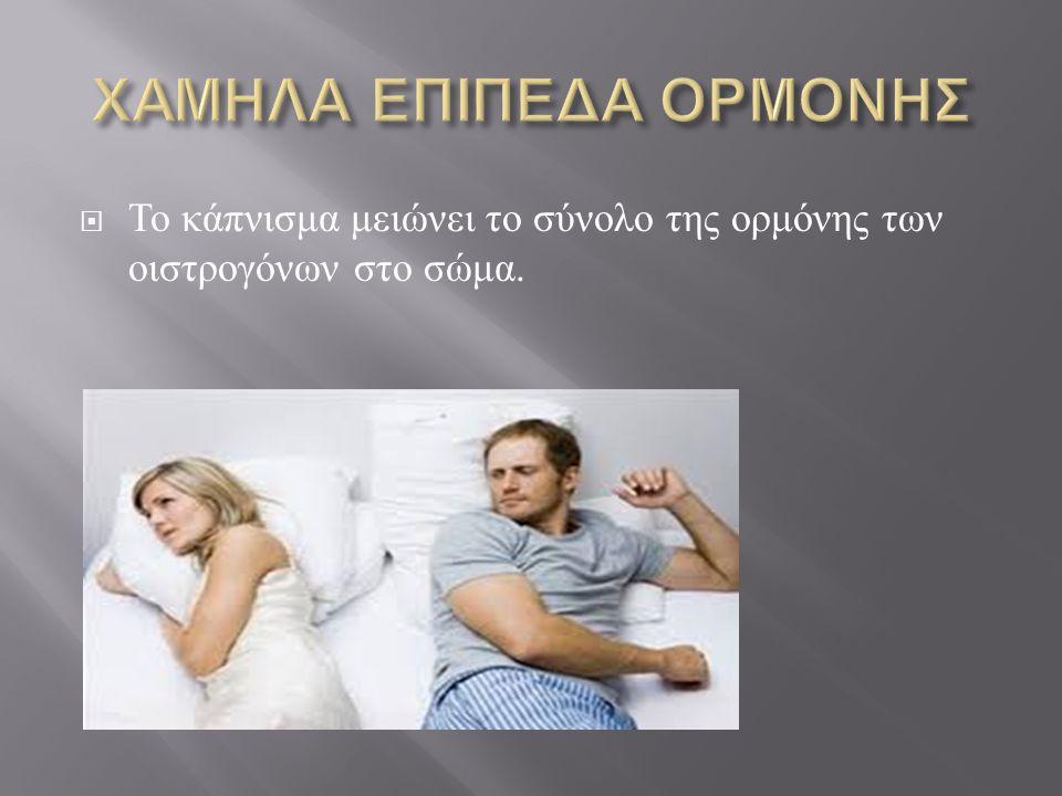  Το κάπνισμα μειώνει το σύνολο της ορμόνης των οιστρογόνων στο σώμα.