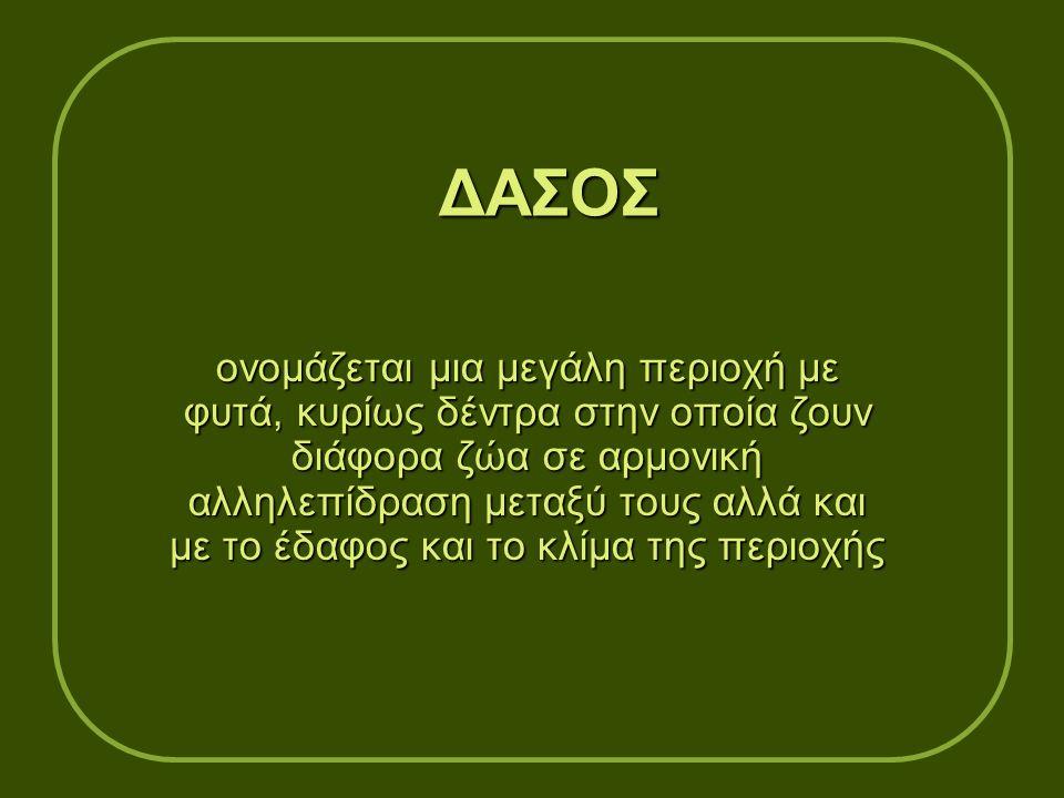 ΔΑΣΟΣ ονομάζεται μια μεγάλη περιοχή με φυτά, κυρίως δέντρα στην οποία ζουν διάφορα ζώα σε αρμονική αλληλεπίδραση μεταξύ τους αλλά και με το έδαφος και