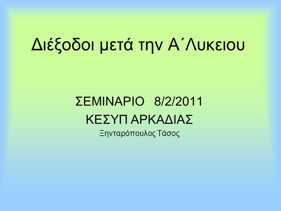 Διέξοδοι μετά την Α΄Λυκειου ΣΕΜΙΝΑΡΙΟ 8/2/2011 ΚΕΣΥΠ ΑΡΚΑΔΙΑΣ Ξηνταρόπουλος Τάσος