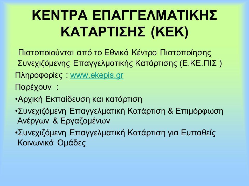 ΚΕΝΤΡΑ ΕΠΑΓΓΕΛΜΑΤΙΚΗΣ ΚΑΤΑΡΤΙΣΗΣ (ΚΕΚ) Πιστοποιούνται από το Εθνικό Κέντρο Πιστοποίησης Συνεχιζόμενης Επαγγελματικής Κατάρτισης (Ε.ΚΕ.ΠΙΣ ) Πληροφορίε