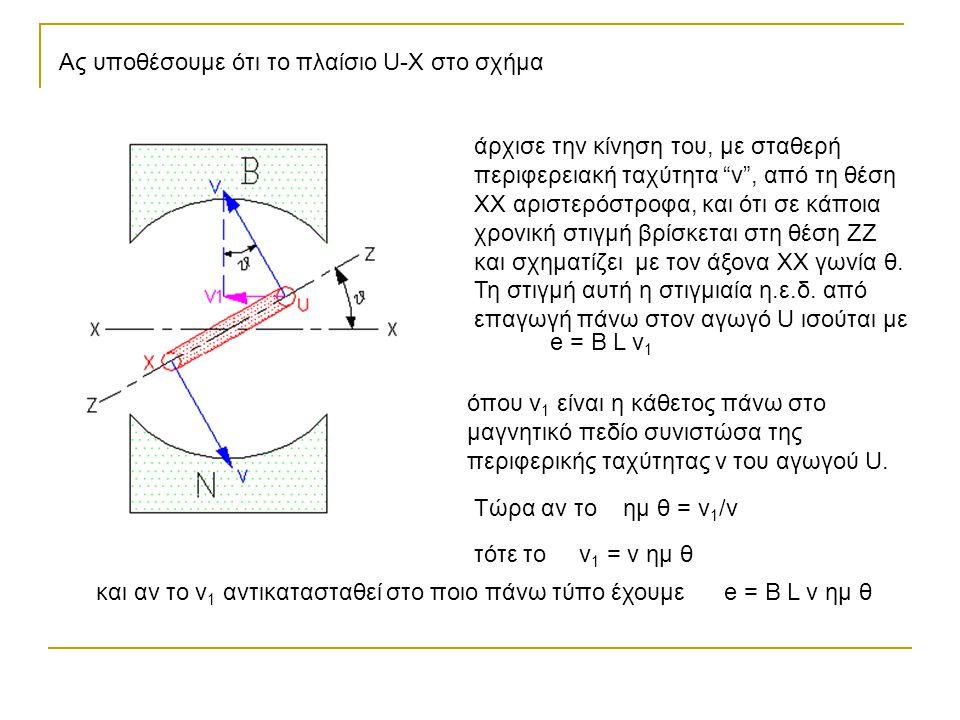 """Ας υποθέσουμε ότι το πλαίσιο U-X στο σχήμα άρχισε την κίνηση του, με σταθερή περιφερειακή ταχύτητα """"v"""", από τη θέση XX αριστερόστροφα, και ότι σε κάπο"""