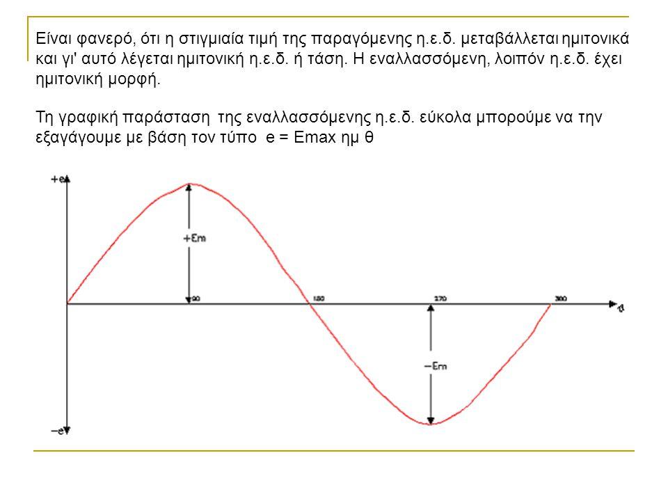 Είναι φανερό, ότι η στιγμιαία τιμή της παραγόμενης η.ε.δ. μεταβάλλεται ημιτονικά και γι' αυτό λέγεται ημιτονική η.ε.δ. ή τάση. Η εναλλασσόμενη, λοιπόν