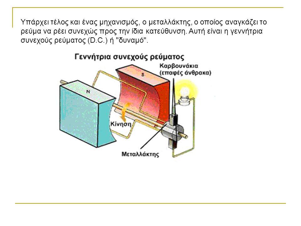 Υπάρχει τέλος και ένας μηχανισμός, ο μεταλλάκτης, ο οποίος αναγκάζει το ρεύμα να ρέει συνεχώς προς την ίδια κατεύθυνση. Αυτή είναι η γεννήτρια συνεχού