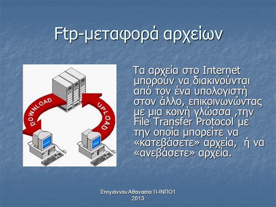 Στογιάννου Αθανασία 1Ι-ΙΝΠΟ1 2013 Ftp-μεταφορά αρχείων Τα αρχεία στο Internet μπορούν να διακινούνται από τον ένα υπολογιστή στον άλλο, επικοινωνώντας