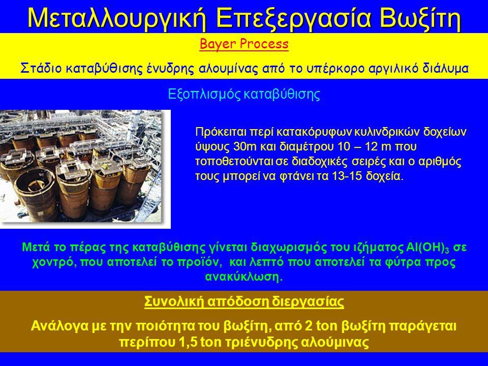Μεταλλουργική Επεξεργασία Βωξίτη Bayer Process Στάδιο καταβύθισης ένυδρης αλουμίνας από το υπέρκορο αργιλικό διάλυμα Εξοπλισμός καταβύθισης Πρόκειται περί κατακόρυφων κυλινδρικών δοχείων ύψους 30m και διαμέτρου 10 – 12 m που τοποθετούνται σε διαδοχικές σειρές και ο αριθμός τους μπορεί να φτάνει τα 13-15 δοχεία.