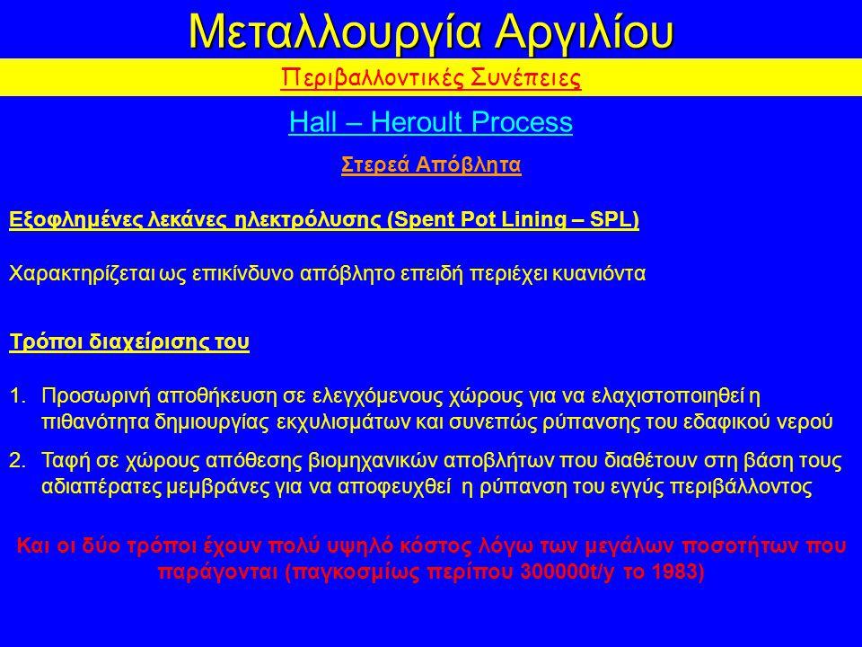 Μεταλλουργία Αργιλίου Περιβαλλοντικές Συνέπειες Hall – Heroult Process Στερεά Απόβλητα Εξοφλημένες λεκάνες ηλεκτρόλυσης (Spent Pot Lining – SPL) Χαρακτηρίζεται ως επικίνδυνο απόβλητο επειδή περιέχει κυανιόντα Τρόποι διαχείρισης του 1.Προσωρινή αποθήκευση σε ελεγχόμενους χώρους για να ελαχιστοποιηθεί η πιθανότητα δημιουργίας εκχυλισμάτων και συνεπώς ρύπανσης του εδαφικού νερού 2.Ταφή σε χώρους απόθεσης βιομηχανικών αποβλήτων που διαθέτουν στη βάση τους αδιαπέρατες μεμβράνες για να αποφευχθεί η ρύπανση του εγγύς περιβάλλοντος Και οι δύο τρόποι έχουν πολύ υψηλό κόστος λόγω των μεγάλων ποσοτήτων που παράγονται (παγκοσμίως περίπου 300000t/y το 1983)
