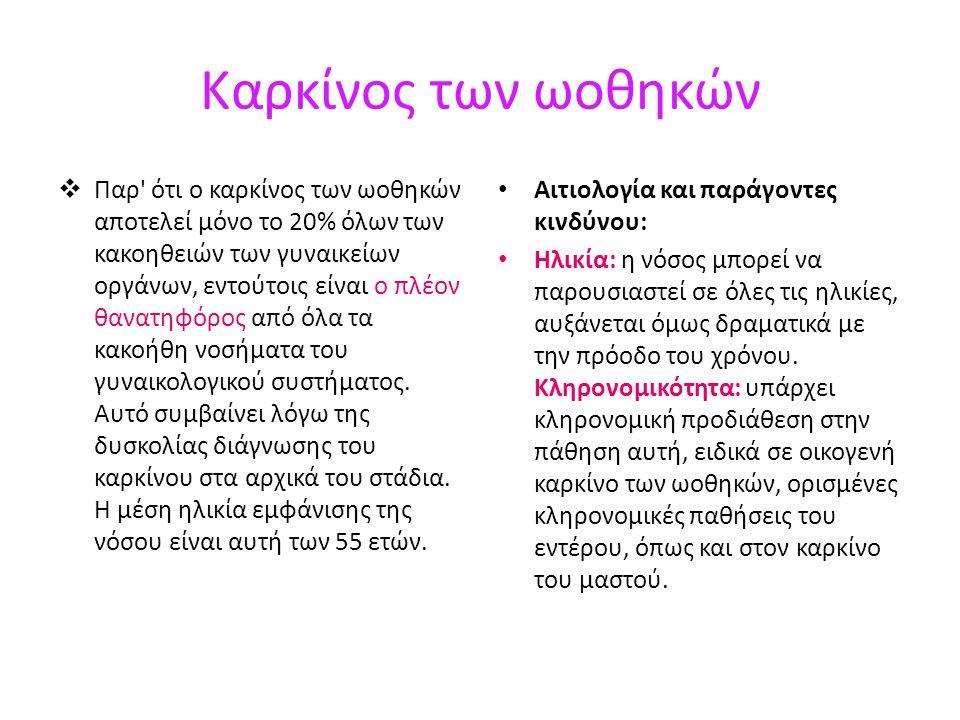 Καρκίνος των ωοθηκών  Παρ ότι ο καρκίνος των ωοθηκών αποτελεί μόνο το 20% όλων των κακοηθειών των γυναικείων οργάνων, εντούτοις είναι ο πλέον θανατηφόρος από όλα τα κακοήθη νοσήματα του γυναικολογικού συστήματος.