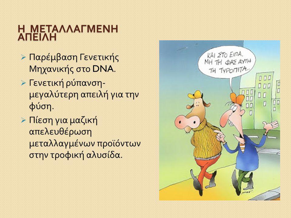Η ΜΕΤΑΛΛΑΓΜΕΝΗ ΑΠΕΙΛΗ  Παρέμβαση Γενετικής Μηχανικής στο DNA.  Γενετική ρύπανση - μεγαλύτερη απειλή για την φύση.  Πίεση για μαζική απελευθέρωση με