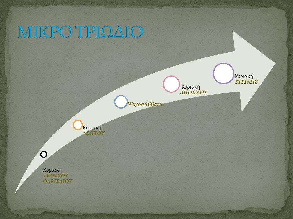 ΜΙΚΡΟ ΤΡΙΩΔΙΟ η οριζόντια πορεία των είκοσι ημερών ΜΕΓΑΛΗ ΤΕΣΣΑΡΑΚΟΣΤΗ η ανάβαση των σαράντα ημερών
