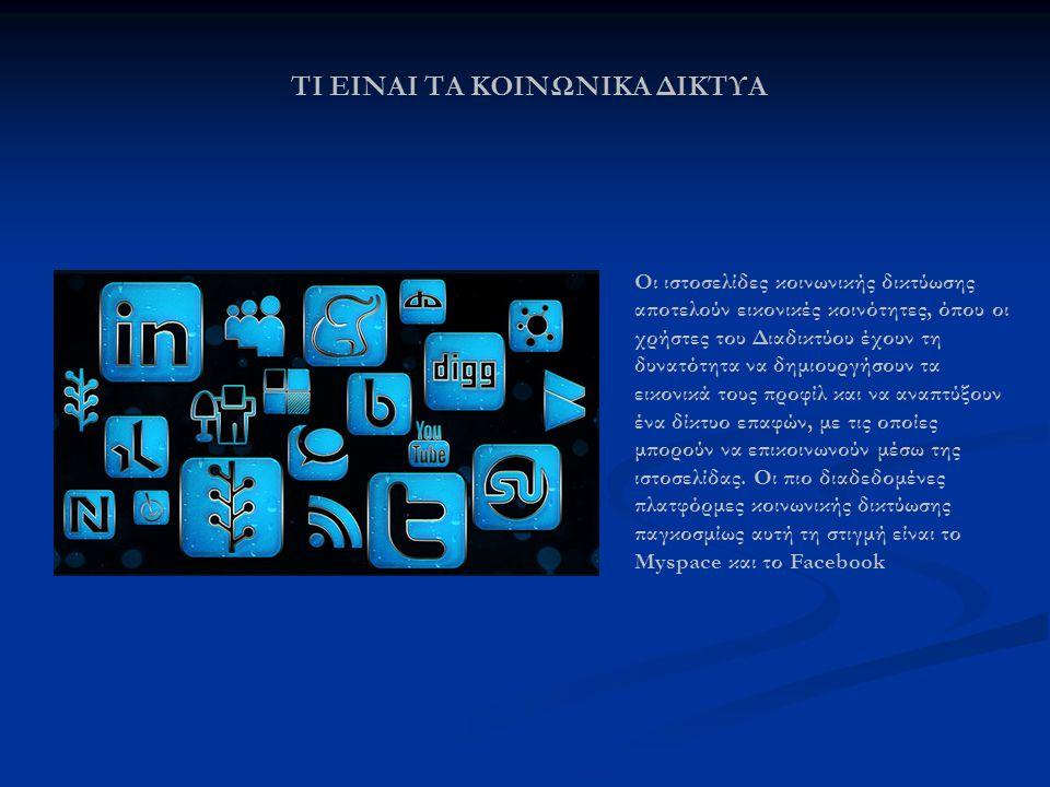 ΠΟΙΑ ΕΙΝΑΙ ΚΟΙΝΩΝΙΚΑ ΔΙΚΤΥΑ Το Facebook είναι Ιστόχωρος κοινωνικής δικτύωσης που ξεκίνησε στις 4 Φεβρουαρίου του 2004.