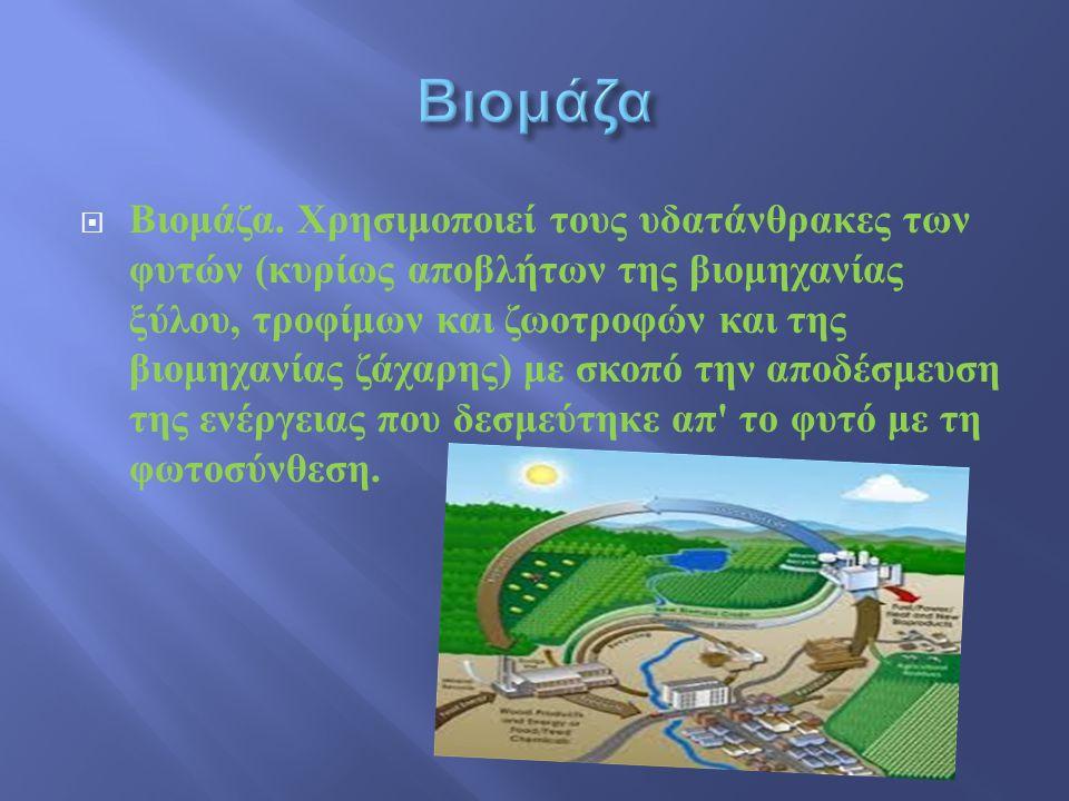 Βιομάζα. Χρησιμοποιεί τους υδατάνθρακες των φυτών ( κυρίως αποβλήτων της βιομηχανίας ξύλου, τροφίμων και ζωοτροφών και της βιομηχανίας ζάχαρης ) με
