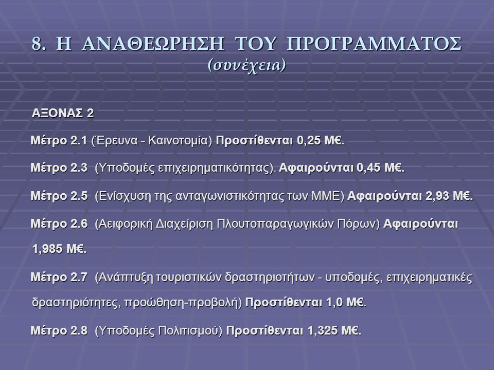 8. Η ΑΝΑΘΕΩΡΗΣΗ ΤΟΥ ΠΡΟΓΡΑΜΜΑΤΟΣ (συνέχεια) ΑΞΟΝΑΣ 2 Μέτρο 2.1 (Έρευνα - Καινοτομία) Προστίθενται 0,25 Μ€. Μέτρο 2.1 (Έρευνα - Καινοτομία) Προστίθεντα