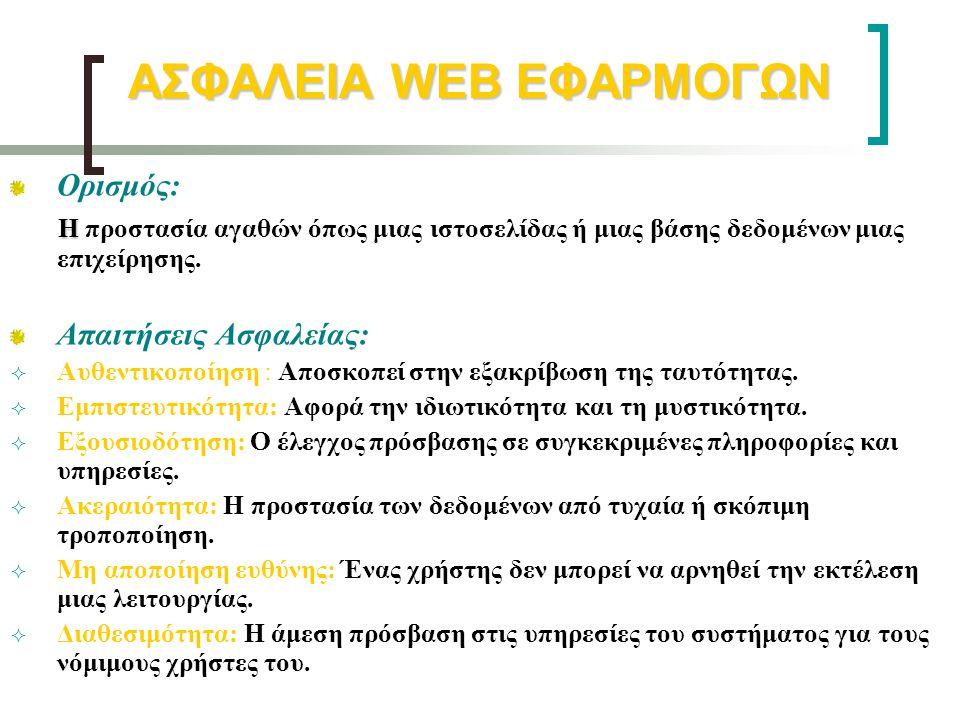 ΑΣΦΑΛΕΙΑ WEB ΕΦΑΡΜΟΓΩΝ Ορισμός: Η Η προστασία αγαθών όπως μιας ιστοσελίδας ή μιας βάσης δεδομένων μιας επιχείρησης. Απαιτήσεις Ασφαλείας:  Αυθεντικοπ
