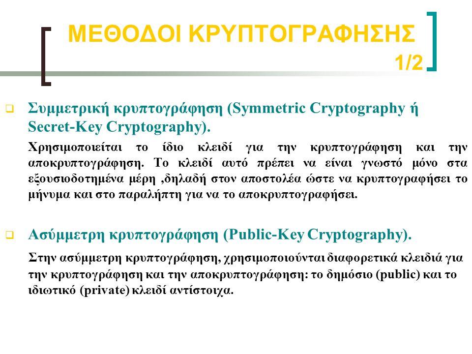 ΜΕΘΟΔΟΙ ΚΡΥΠΤΟΓΡΑΦΗΣΗΣ 1/2  Συμμετρική κρυπτογράφηση (Symmetric Cryptography ή Secret-Key Cryptography). Χρησιμοποιείται το ίδιο κλειδί για την κρυπτ