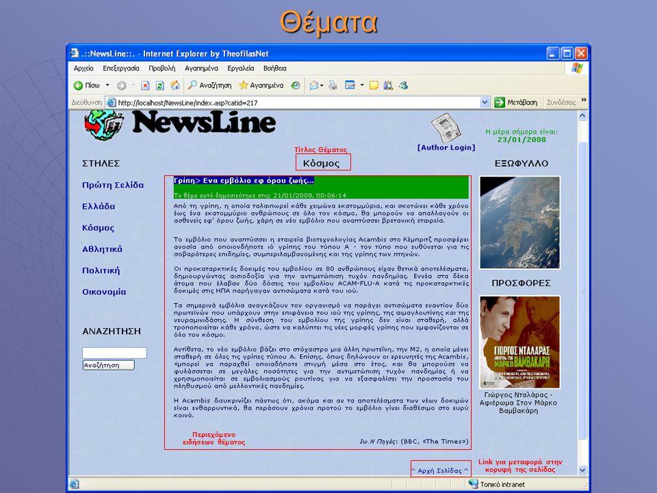 Θέματα Τίτλος Θέματος Περιεχόμενο ειδήσεων θέματος Link για μεταφορά στην κορυφή της σελίδας