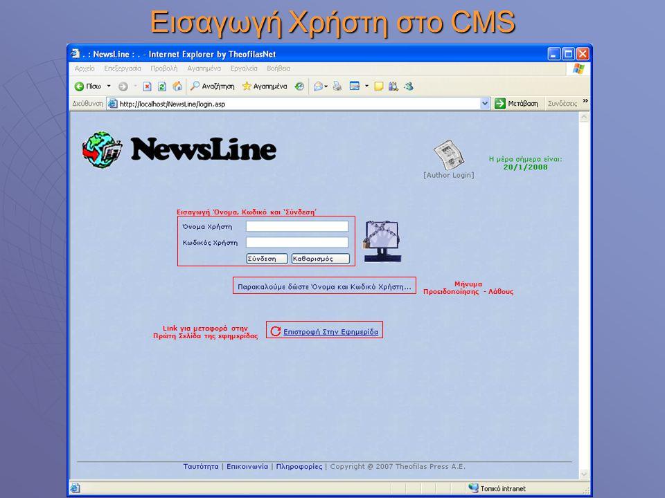 Εισαγωγή Χρήστη στο CMS Εισαγωγή Όνομα, Κωδικό και 'Σύνδεση' Μήνυμα Προειδοποίησης - Λάθους Link για μεταφορά στην Πρώτη Σελίδα της εφημερίδας
