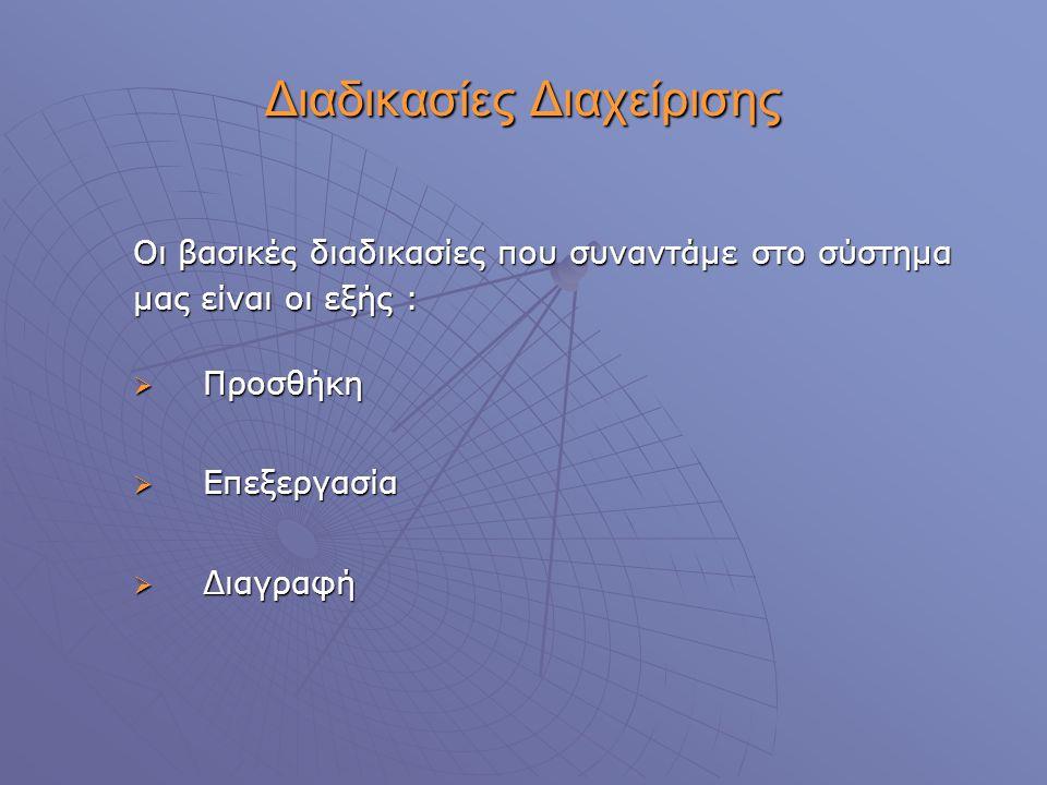 Διαδικασίες Διαχείρισης Οι βασικές διαδικασίες που συναντάμε στο σύστημα μας είναι οι εξής :  Προσθήκη  Επεξεργασία  Διαγραφή