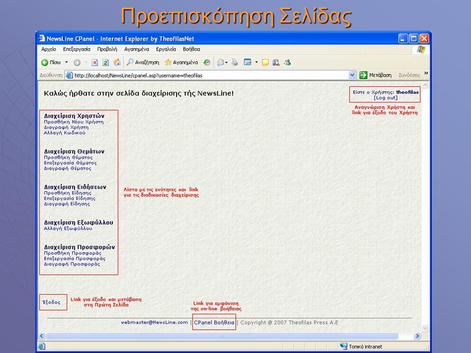 Προεπισκόπηση Σελίδας Αναγνώριση Χρήστη και link για έξοδο του Χρήστη Λίστα με τις ενότητες και link για τις διαδικασίες διαχείρισης Link για έξοδο κα