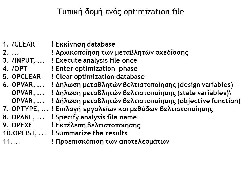 Τυπική δομή ενός optimization file 1./CLEAR! Εκκίνηση database 2....! Αρχικοποίηση των μεταβλητών σχεδίασης 3./INPUT,...! Execute analysis file once 4