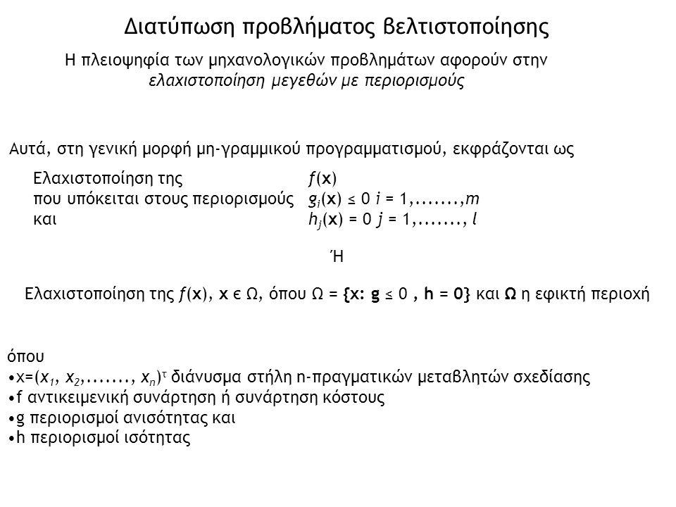Αυτά, στη γενική μορφή μη-γραμμικού προγραμματισμού, εκφράζονται ως Ελαχιστοποίηση της f(x) που υπόκειται στους περιορισμούς g i (x) ≤ 0 i = 1,.......